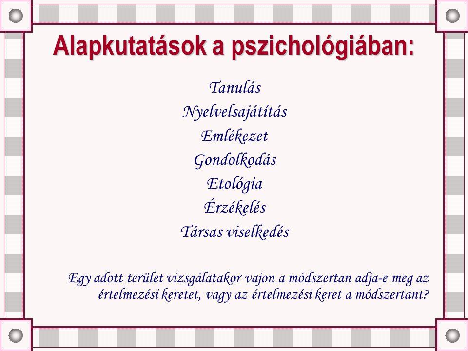 Alapkutatások a pszichológiában: Tanulás Nyelvelsajátítás Emlékezet Gondolkodás Etológia Érzékelés Társas viselkedés Egy adott terület vizsgálatakor vajon a módszertan adja-e meg az értelmezési keretet, vagy az értelmezési keret a módszertant