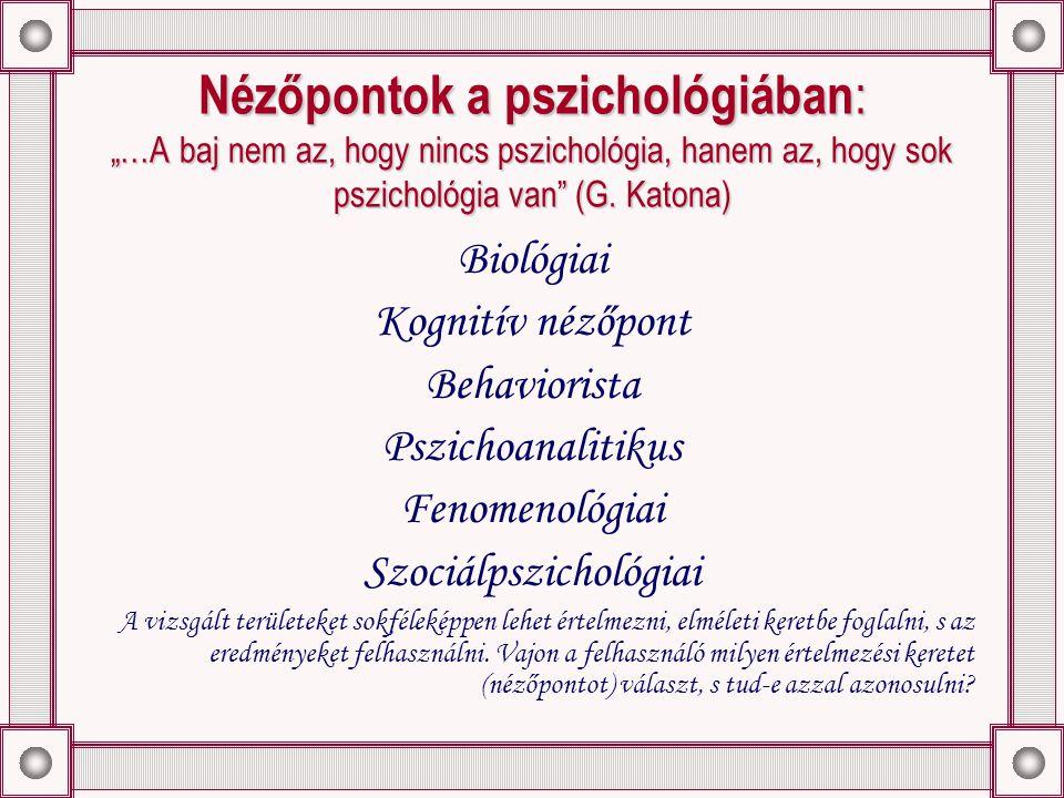 """Nézőpontok a pszichológiában : """"…A baj nem az, hogy nincs pszichológia, hanem az, hogy sok pszichológia van (G."""