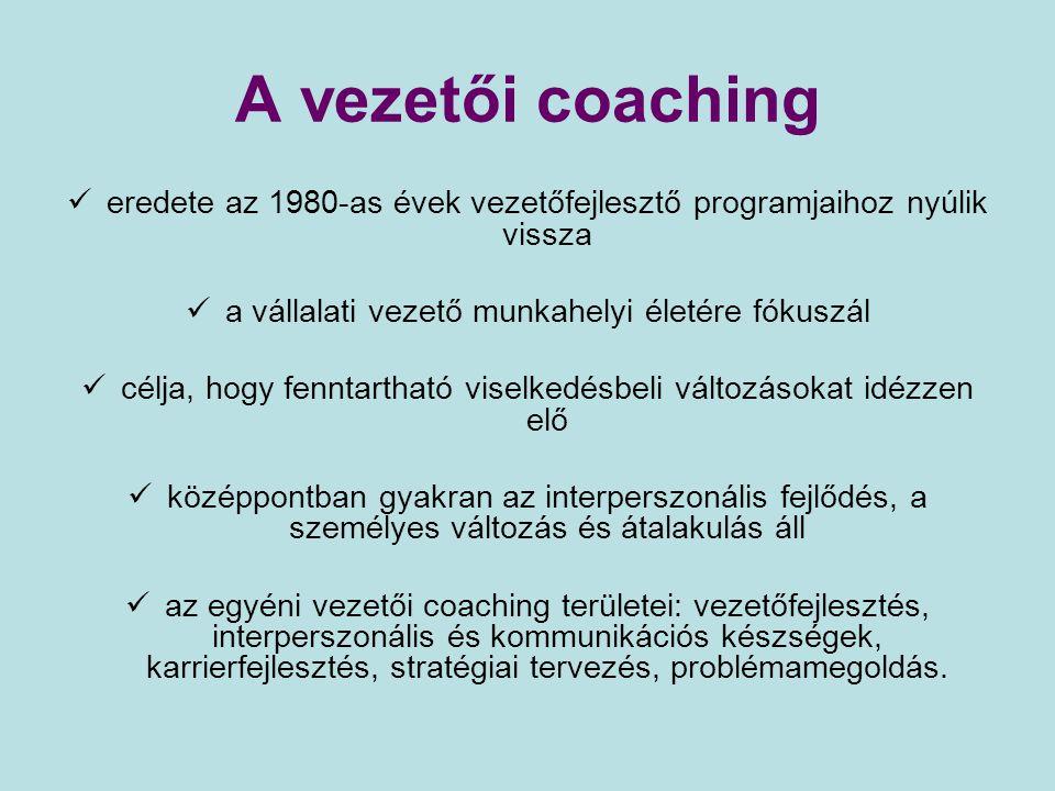 A vezetői coaching eredete az 1980-as évek vezetőfejlesztő programjaihoz nyúlik vissza a vállalati vezető munkahelyi életére fókuszál célja, hogy fenn