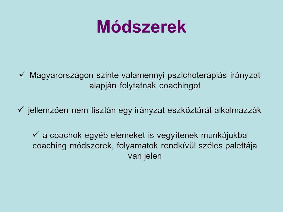 Módszerek Magyarországon szinte valamennyi pszichoterápiás irányzat alapján folytatnak coachingot jellemzően nem tisztán egy irányzat eszköztárát alka
