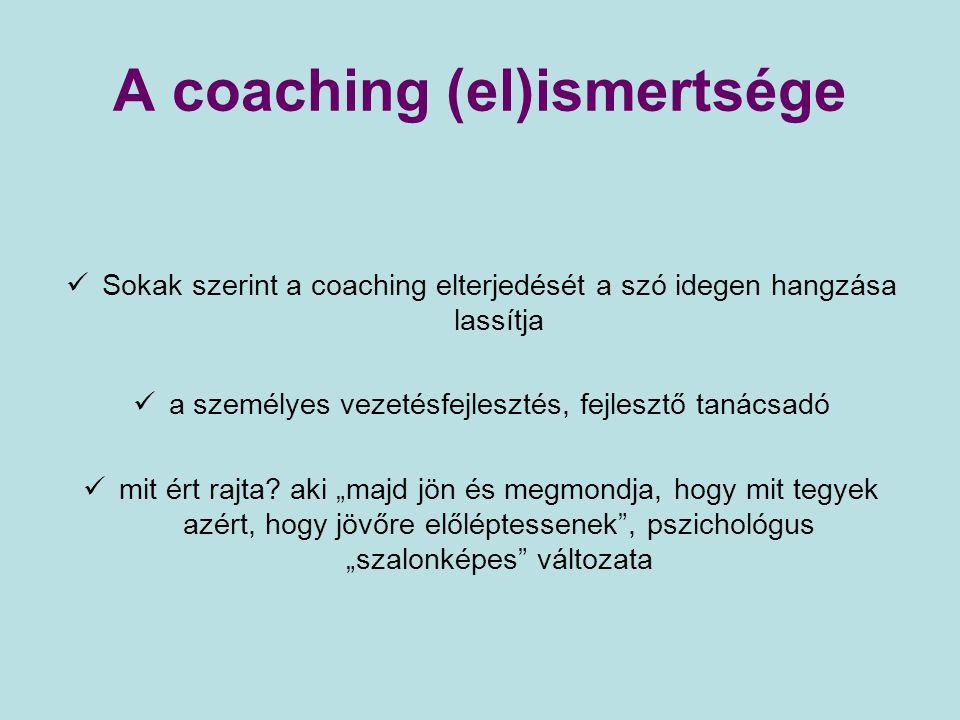A coaching (el)ismertsége Sokak szerint a coaching elterjedését a szó idegen hangzása lassítja a személyes vezetésfejlesztés, fejlesztő tanácsadó mit