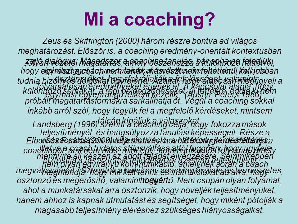 Vagyis… Egymás segítése cél- és eredményorientált személyes fejlesztés, amelyben a Coach egy elfogulatlan, hozzáértő, külső szakértő támogatás a Coacholtnak, hogy minél jobban felismerje és kiaknázza meglévő belső erőforrásait, és bővítse külső lehetőségeit, hogy ezáltal növekedjék saját eredményessége csakúgy, mint a szervezet teljesítménye támogató vezetői stílus és szemléletmód A coaching nem karitatív munka, nem önzetlen tevékenység, hiszen minden erre fordított idő: befektetés, amely többszörösen megtérül!
