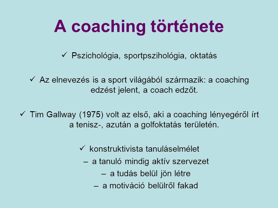 A coaching története Pszichológia, sportpszihológia, oktatás Az elnevezés is a sport világából származik: a coaching edzést jelent, a coach edzőt. Tim