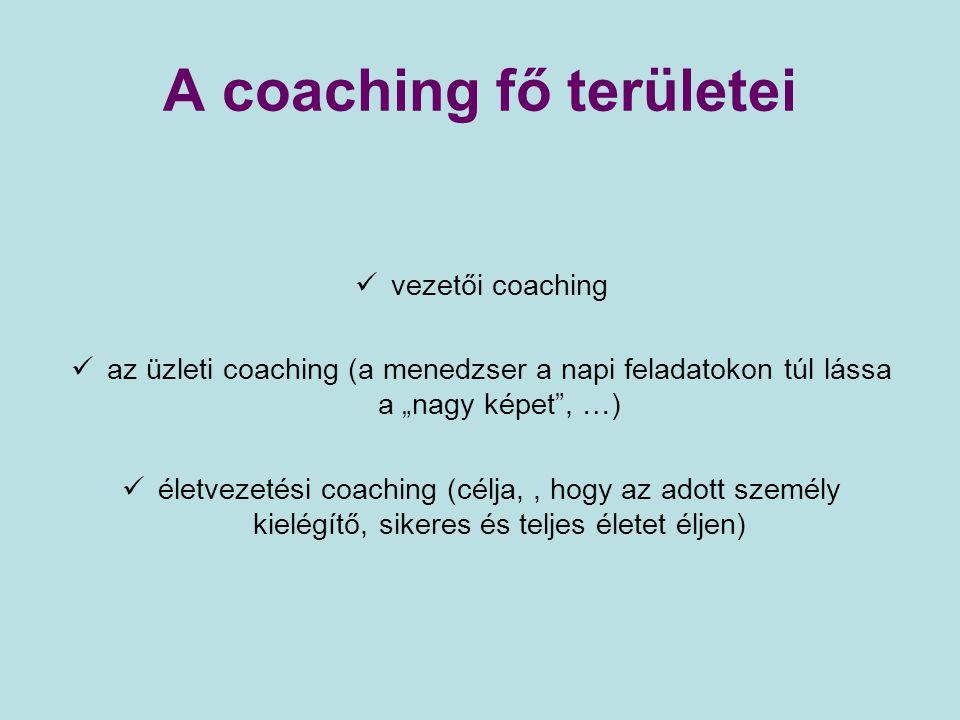 """A coaching fő területei vezetői coaching az üzleti coaching (a menedzser a napi feladatokon túl lássa a """"nagy képet"""", …) életvezetési coaching (célja,"""