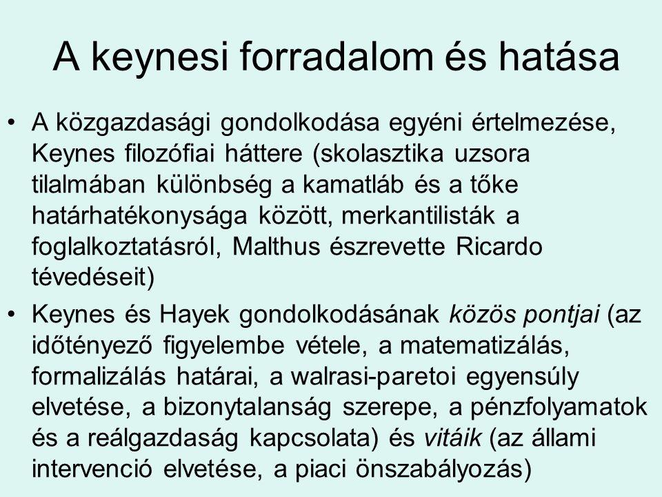 A keynesi forradalom és hatása A közgazdasági gondolkodása egyéni értelmezése, Keynes filozófiai háttere (skolasztika uzsora tilalmában különbség a ka