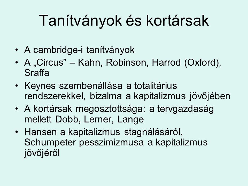 """Tanítványok és kortársak A cambridge-i tanítványok A """"Circus"""" – Kahn, Robinson, Harrod (Oxford), Sraffa Keynes szembenállása a totalitárius rendszerek"""