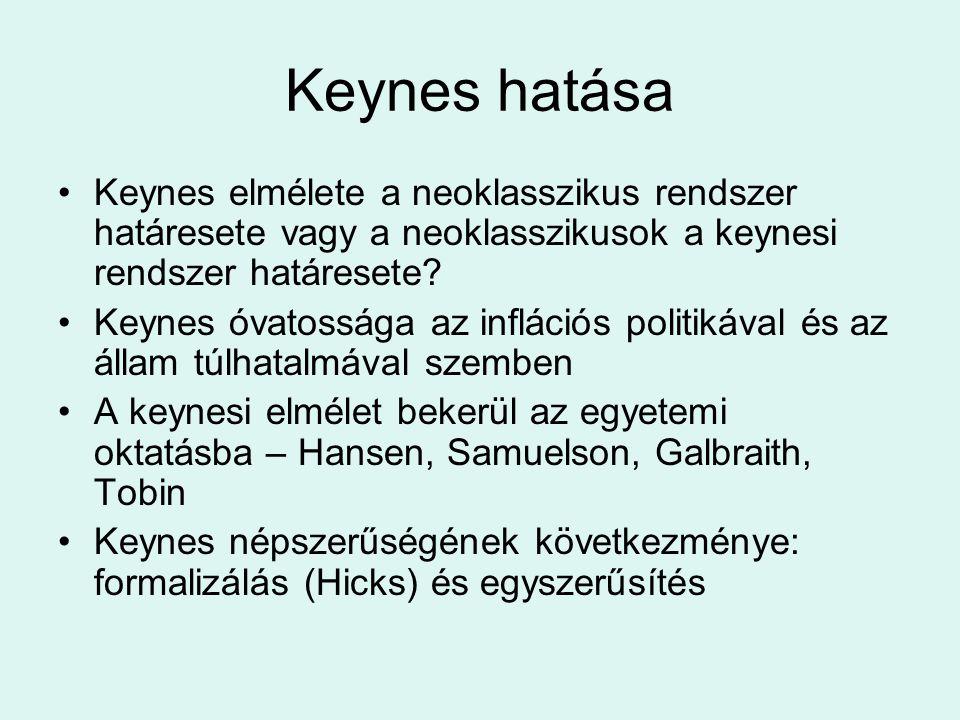 Keynes hatása Keynes elmélete a neoklasszikus rendszer határesete vagy a neoklasszikusok a keynesi rendszer határesete? Keynes óvatossága az inflációs