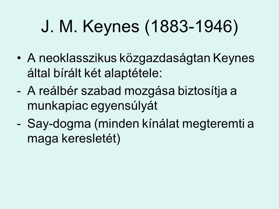 J. M. Keynes (1883-1946) A neoklasszikus közgazdaságtan Keynes által bírált két alaptétele: -A reálbér szabad mozgása biztosítja a munkapiac egyensúly