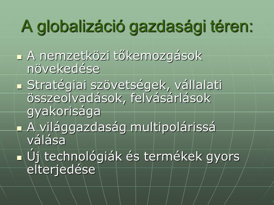 A globalizáció gazdasági téren: A nemzetközi tőkemozgások növekedése A nemzetközi tőkemozgások növekedése Stratégiai szövetségek, vállalati összeolvadások, felvásárlások gyakorisága Stratégiai szövetségek, vállalati összeolvadások, felvásárlások gyakorisága A világgazdaság multipolárissá válása A világgazdaság multipolárissá válása Új technológiák és termékek gyors elterjedése Új technológiák és termékek gyors elterjedése