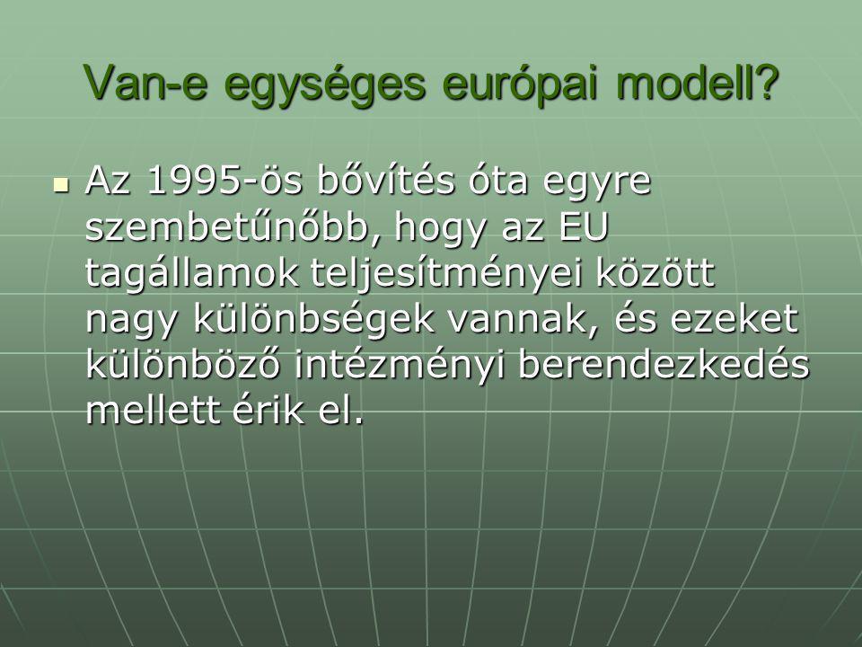 Van-e egységes európai modell? Az 1995-ös bővítés óta egyre szembetűnőbb, hogy az EU tagállamok teljesítményei között nagy különbségek vannak, és ezek