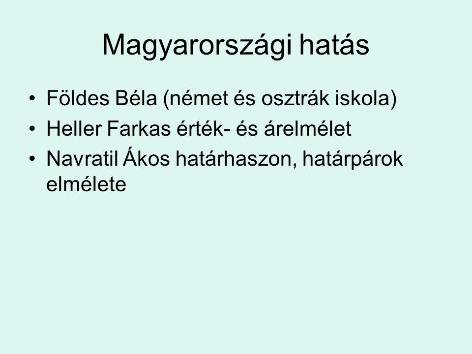 Magyarországi hatás Földes Béla (német és osztrák iskola) Heller Farkas érték- és árelmélet Navratil Ákos határhaszon, határpárok elmélete