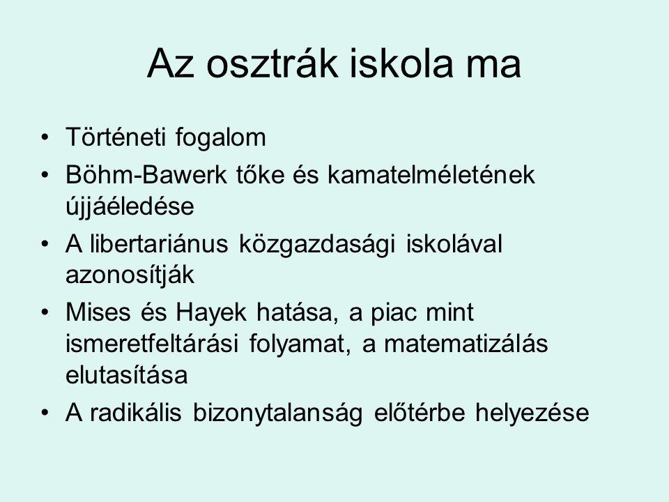 Az osztrák iskola ma Történeti fogalom Böhm-Bawerk tőke és kamatelméletének újjáéledése A libertariánus közgazdasági iskolával azonosítják Mises és Ha