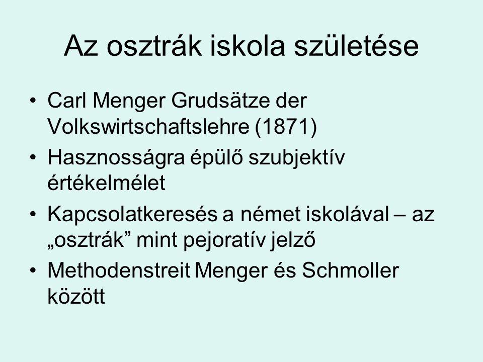 Az osztrák iskola születése Carl Menger Grudsätze der Volkswirtschaftslehre (1871) Hasznosságra épülő szubjektív értékelmélet Kapcsolatkeresés a német