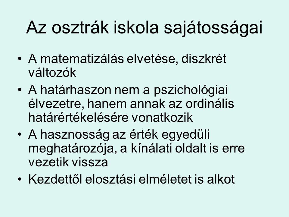 Az osztrák iskola sajátosságai A matematizálás elvetése, diszkrét változók A határhaszon nem a pszichológiai élvezetre, hanem annak az ordinális határ