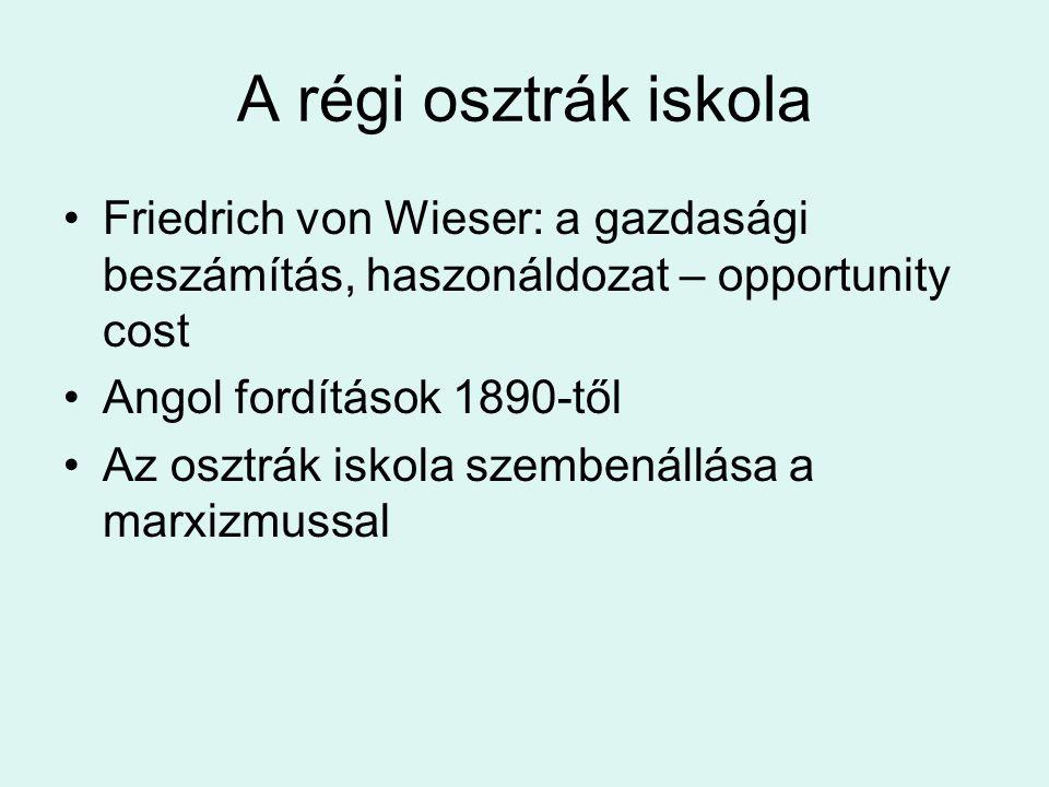 A régi osztrák iskola Friedrich von Wieser: a gazdasági beszámítás, haszonáldozat – opportunity cost Angol fordítások 1890-től Az osztrák iskola szemb