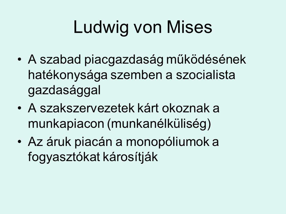 Ludwig von Mises A szabad piacgazdaság működésének hatékonysága szemben a szocialista gazdasággal A szakszervezetek kárt okoznak a munkapiacon (munkan