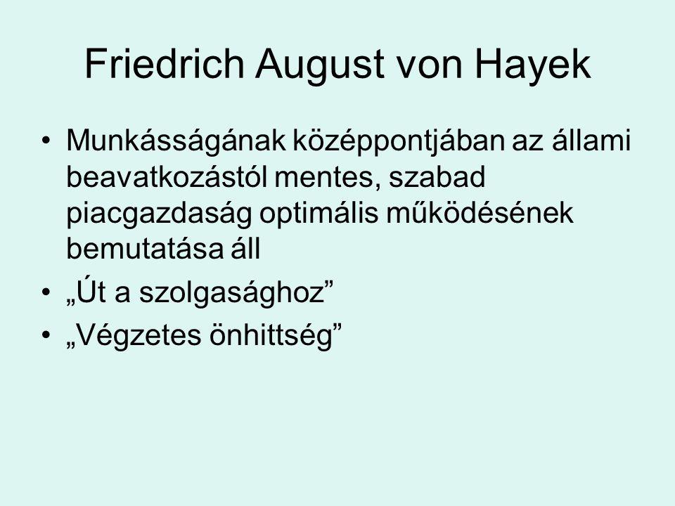 """Friedrich August von Hayek Munkásságának középpontjában az állami beavatkozástól mentes, szabad piacgazdaság optimális működésének bemutatása áll """"Út"""