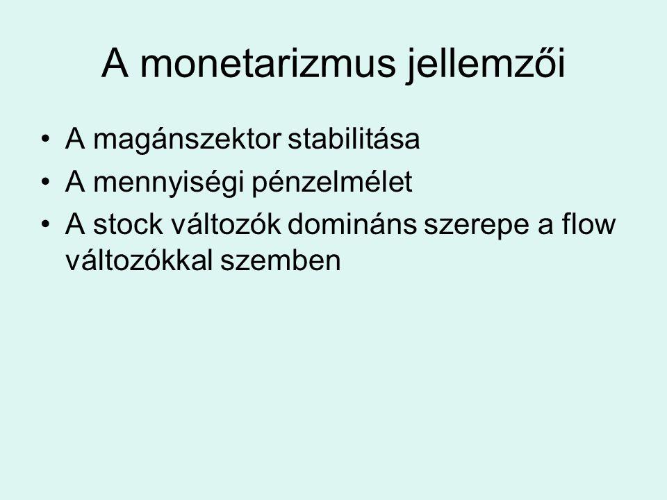 A monetarizmus jellemzői A magánszektor stabilitása A mennyiségi pénzelmélet A stock változók domináns szerepe a flow változókkal szemben