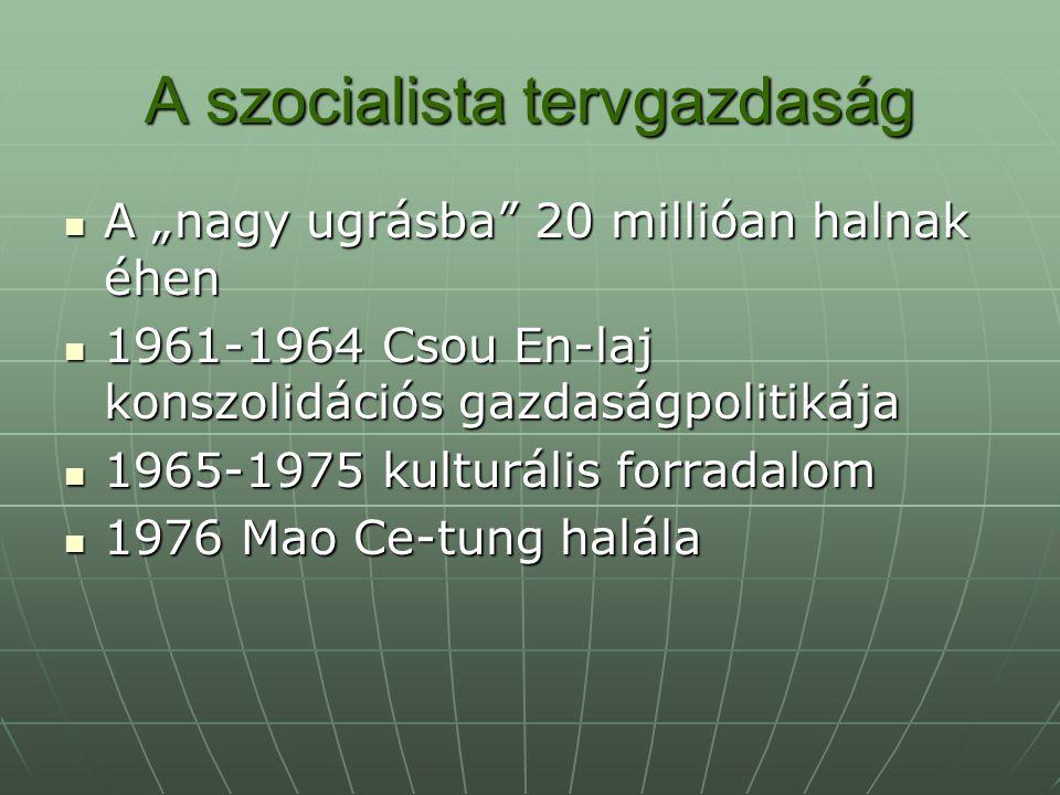 """A szocialista tervgazdaság A """"nagy ugrásba"""" 20 millióan halnak éhen A """"nagy ugrásba"""" 20 millióan halnak éhen 1961-1964 Csou En-laj konszolidációs gazd"""