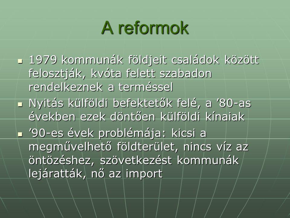 A reformok 1979 kommunák földjeit családok között felosztják, kvóta felett szabadon rendelkeznek a terméssel 1979 kommunák földjeit családok között fe