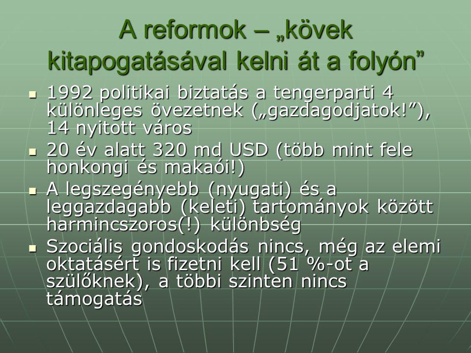 """A reformok – """"kövek kitapogatásával kelni át a folyón"""" 1992 politikai biztatás a tengerparti 4 különleges övezetnek (""""gazdagodjatok!""""), 14 nyitott vár"""