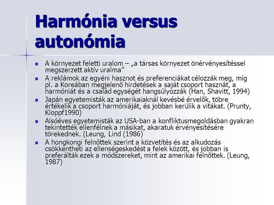 """Harmónia versus autonómia A környezet feletti uralom – """"a társas környezet önérvényesítéssel megszerzett aktív uralma A környezet feletti uralom – """"a társas környezet önérvényesítéssel megszerzett aktív uralma A reklámok az egyéni hasznot és preferenciákat célozzák meg, míg pl."""