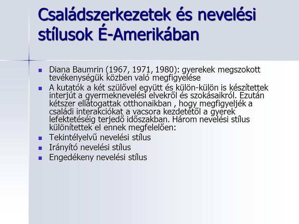 Családszerkezetek és nevelési stílusok É-Amerikában Diana Baumrin (1967, 1971, 1980): gyerekek megszokott tevékenységük közben való megfigyelése Diana Baumrin (1967, 1971, 1980): gyerekek megszokott tevékenységük közben való megfigyelése A kutatók a két szülővel együtt és külön-külön is készítettek interjút a gyermeknevelési elvekről és szokásaikról.