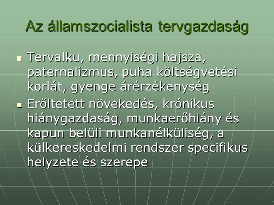 Az államszocialista tervgazdaság Tervalku, mennyiségi hajsza, paternalizmus, puha költségvetési korlát, gyenge árérzékenység Tervalku, mennyiségi hajs