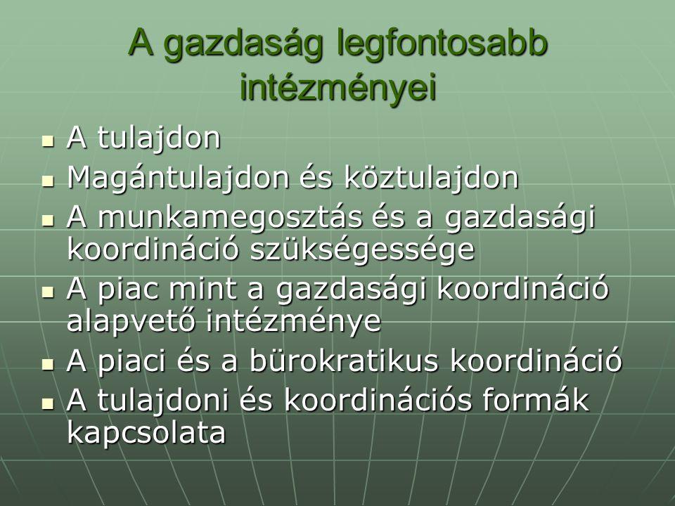 A gazdaság legfontosabb intézményei A tulajdon A tulajdon Magántulajdon és köztulajdon Magántulajdon és köztulajdon A munkamegosztás és a gazdasági ko