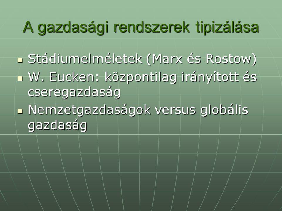 A gazdasági rendszerek tipizálása Stádiumelméletek (Marx és Rostow) Stádiumelméletek (Marx és Rostow) W. Eucken: központilag irányított és cseregazdas