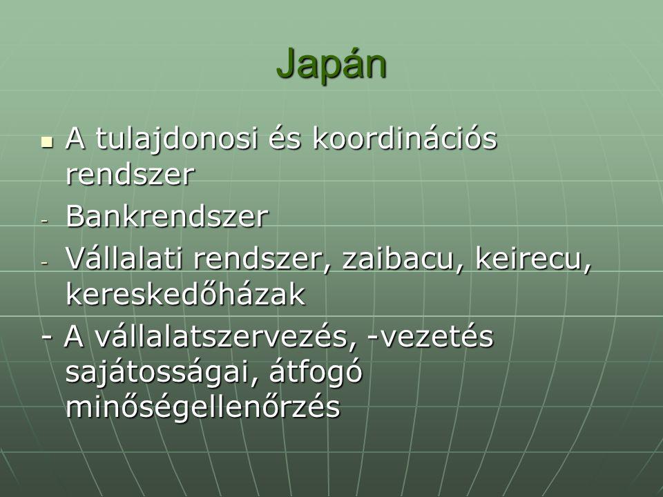 Japán A tulajdonosi és koordinációs rendszer A tulajdonosi és koordinációs rendszer - Bankrendszer - Vállalati rendszer, zaibacu, keirecu, kereskedőhá
