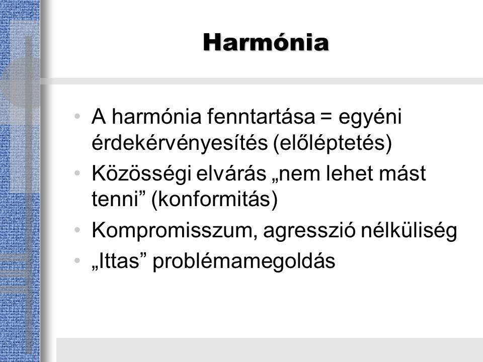 """Harmónia A harmónia fenntartása = egyéni érdekérvényesítés (előléptetés) Közösségi elvárás """"nem lehet mást tenni (konformitás) Kompromisszum, agresszió nélküliség """"Ittas problémamegoldás"""