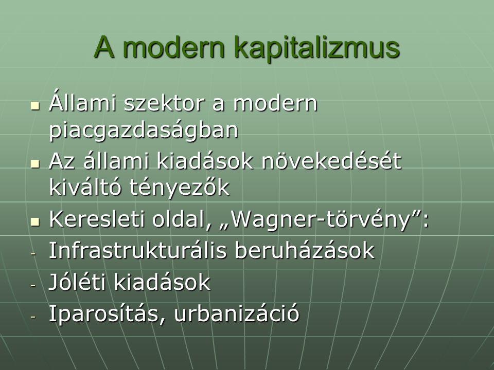 """A modern kapitalizmus Kínálati oldal, """"Baumol-hatás : Kínálati oldal, """"Baumol-hatás : Szolgáltatások alacsonyabb termelékenysége Szolgáltatások alacsonyabb termelékenysége A politikai rendszer közgazdasági elemzése A politikai rendszer közgazdasági elemzése - A bürokráciaelmélet - Az érdekcsoportok - A választási és pártrendszerek"""
