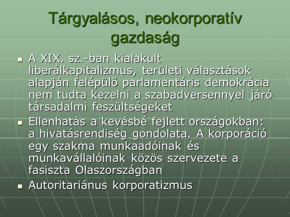 Tárgyalásos, neokorporatív gazdaság A II.