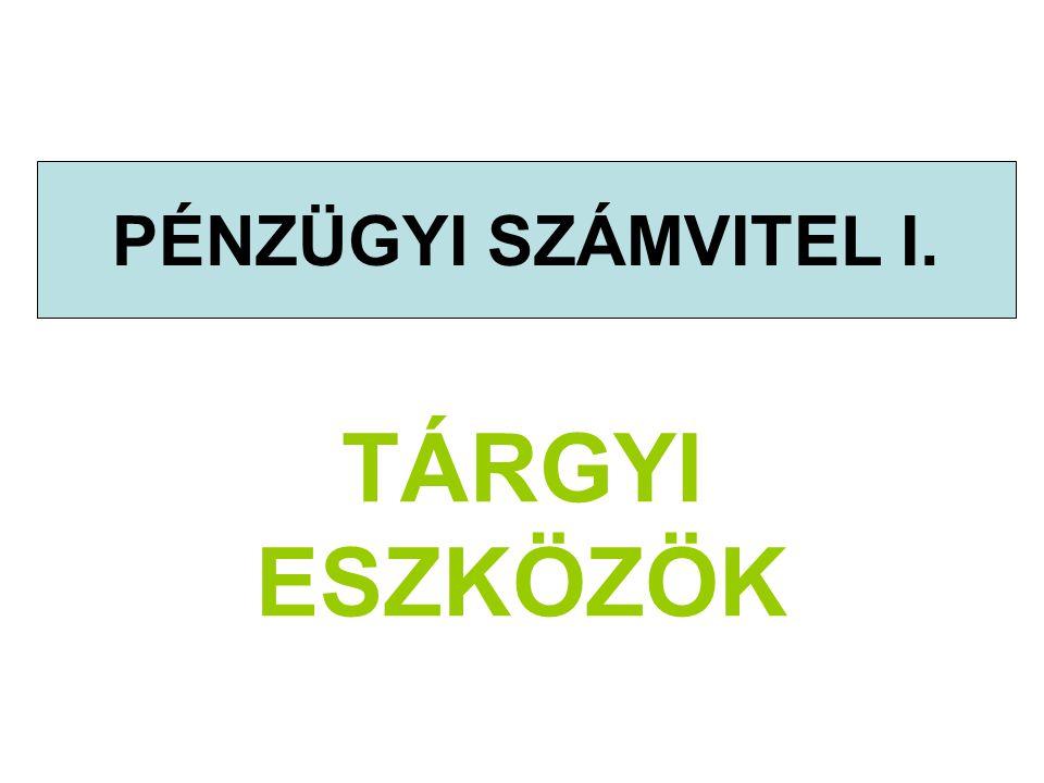 Tárgyi eszközök© Deák István - 2009.42 Tárgyi eszköz használati jogának tartós átengedése Átvevő (jogszerző) A tartós használatba átvett eszköz nem kerül az átvevő tulajdonába A használat jogának megszerzésért fizetett, egyszeri díj Ingatlanhoz kapcsolódó vagyoni értékű jog Elszámolása értékcsökkenésként a szerződés szerinti időszak alatt (határozatlan idejű esetén a gazdálkodó által meghatározott hasznos élettartam alatt)