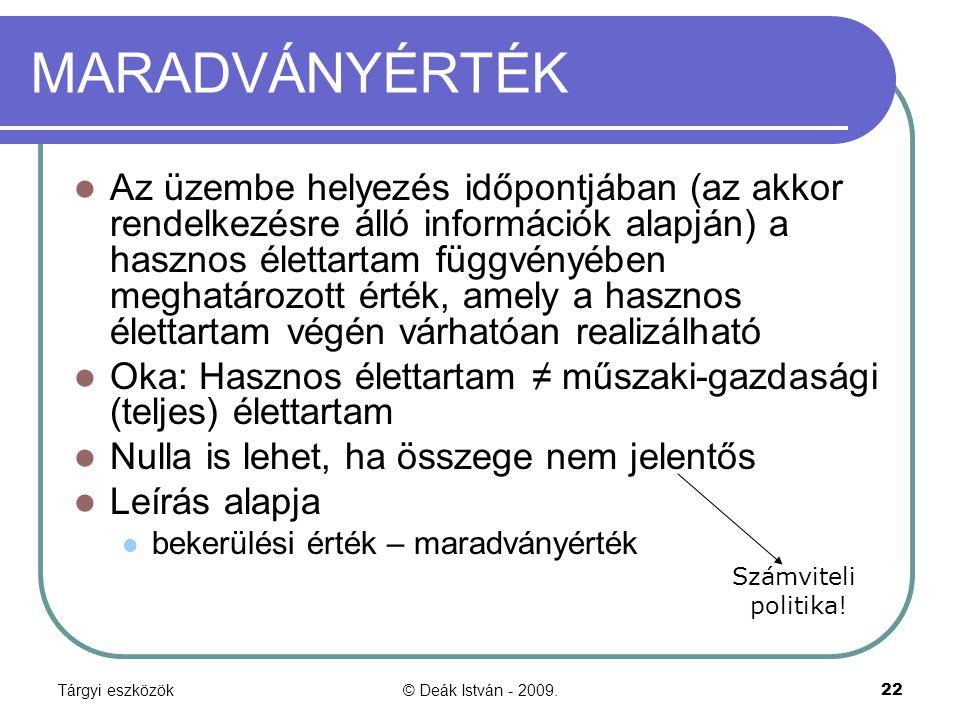 Tárgyi eszközök© Deák István - 2009.22 MARADVÁNYÉRTÉK Az üzembe helyezés időpontjában (az akkor rendelkezésre álló információk alapján) a hasznos élet