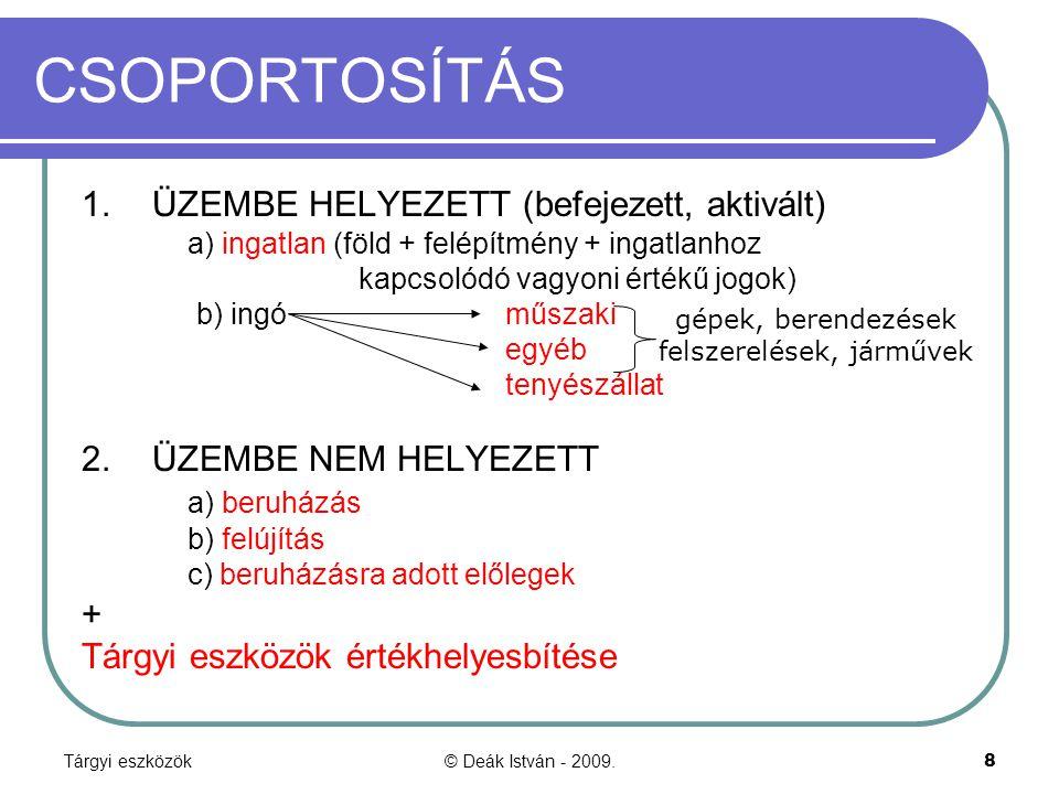 Tárgyi eszközök© Deák István - 2009.39 Az előző diához.