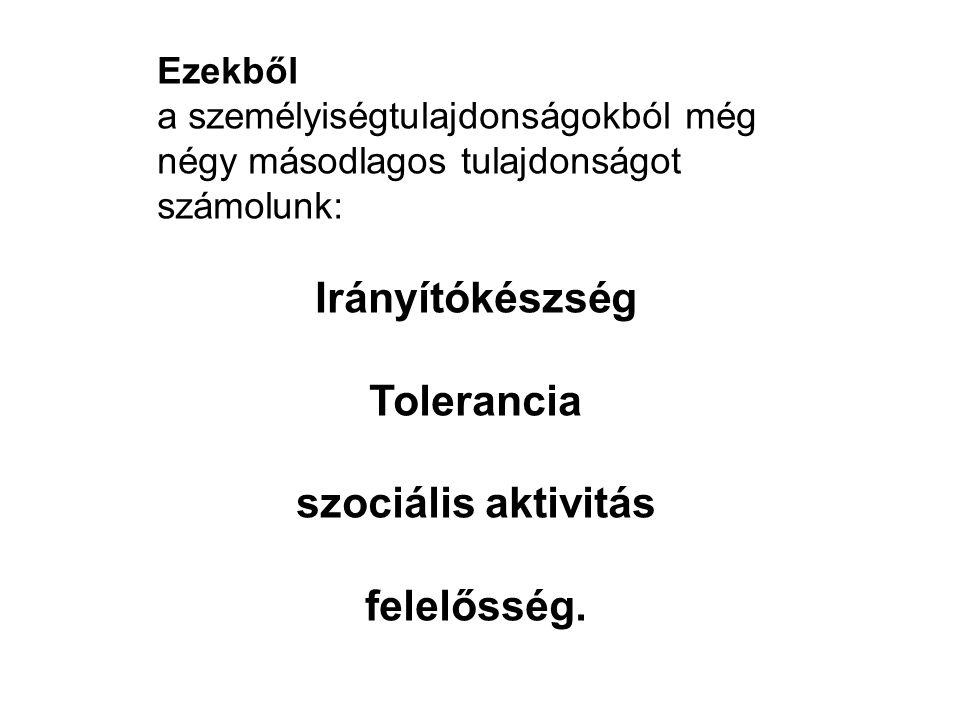 Ezekből a személyiségtulajdonságokból még négy másodlagos tulajdonságot számolunk: Irányítókészség Tolerancia szociális aktivitás felelősség.