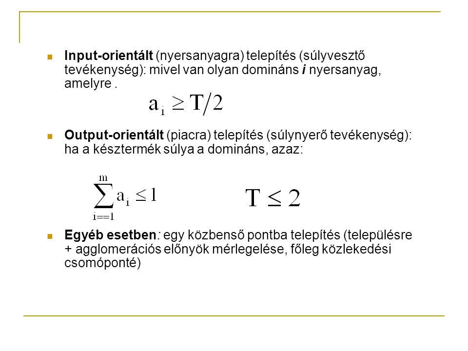 Input-orientált (nyersanyagra) telepítés (súlyvesztő tevékenység): mivel van olyan domináns i nyersanyag, amelyre. Output-orientált (piacra) telepítés