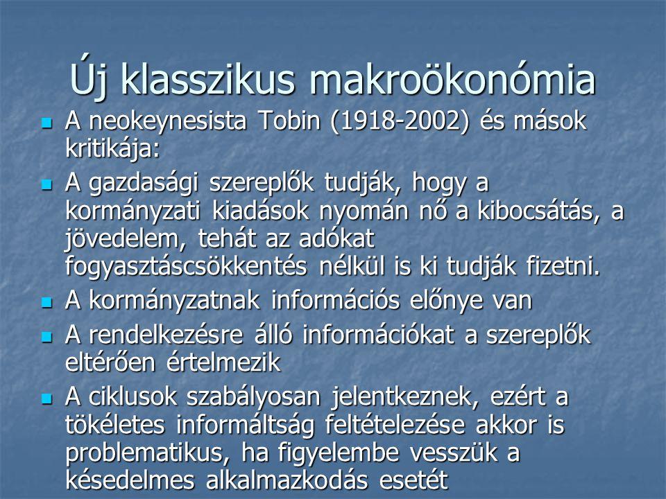 Új klasszikus makroökonómia A neokeynesista Tobin (1918-2002) és mások kritikája: A neokeynesista Tobin (1918-2002) és mások kritikája: A gazdasági sz