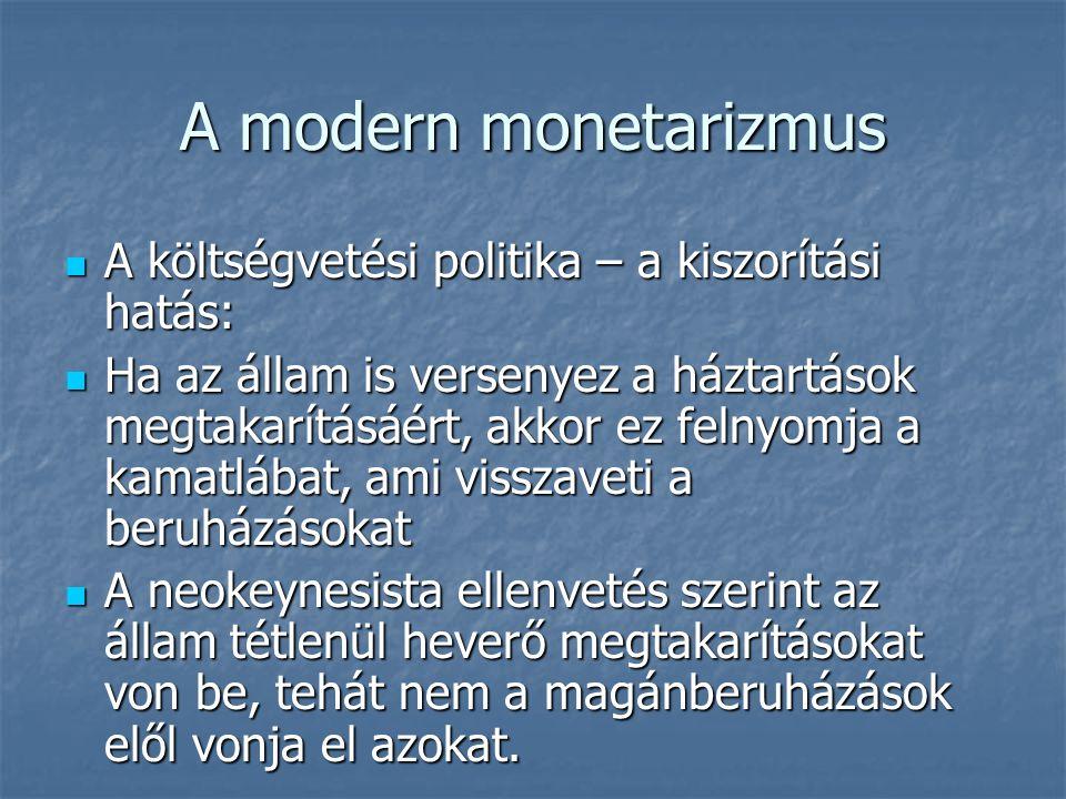 A modern monetarizmus A monetaristák újabb ellenérve, hogy a neokeynesisták csak a rövid távú flow folyamatokat veszik figyelembe, a hosszú távú stock hatásokat nem.