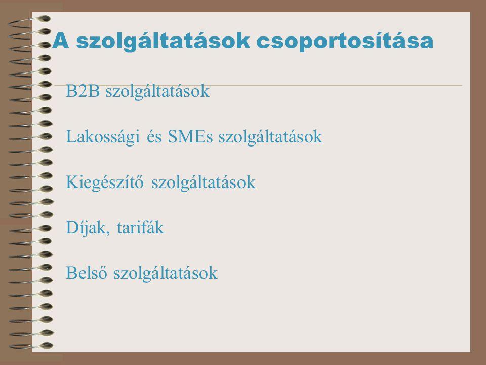 A szolgáltatások csoportosítása B2B szolgáltatások Lakossági és SMEs szolgáltatások Kiegészítő szolgáltatások Díjak, tarifák Belső szolgáltatások