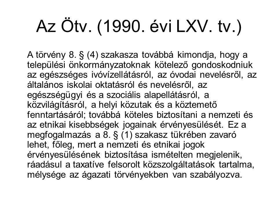 Az Ötv. (1990. évi LXV. tv.) A törvény 8. § (4) szakasza továbbá kimondja, hogy a települési önkormányzatoknak kötelező gondoskodniuk az egészséges iv
