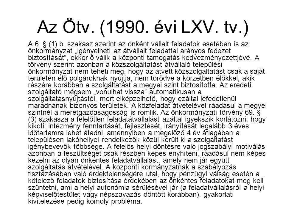 """Az Ötv. (1990. évi LXV. tv.) A 6. § (1) b. szakasz szerint az önként vállalt feladatok esetében is az önkormányzat """"igényelheti az átvállalt feladatta"""