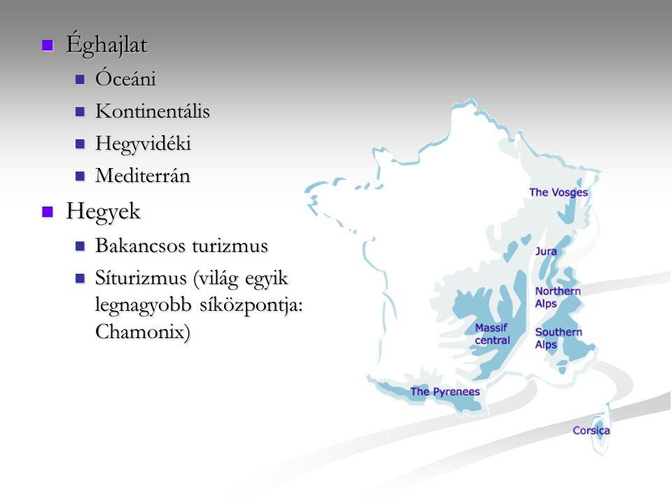 Éghajlat Éghajlat Óceáni Óceáni Kontinentális Kontinentális Hegyvidéki Hegyvidéki Mediterrán Mediterrán Hegyek Hegyek Bakancsos turizmus Bakancsos turizmus Síturizmus (világ egyik legnagyobb síközpontja: Chamonix) Síturizmus (világ egyik legnagyobb síközpontja: Chamonix)