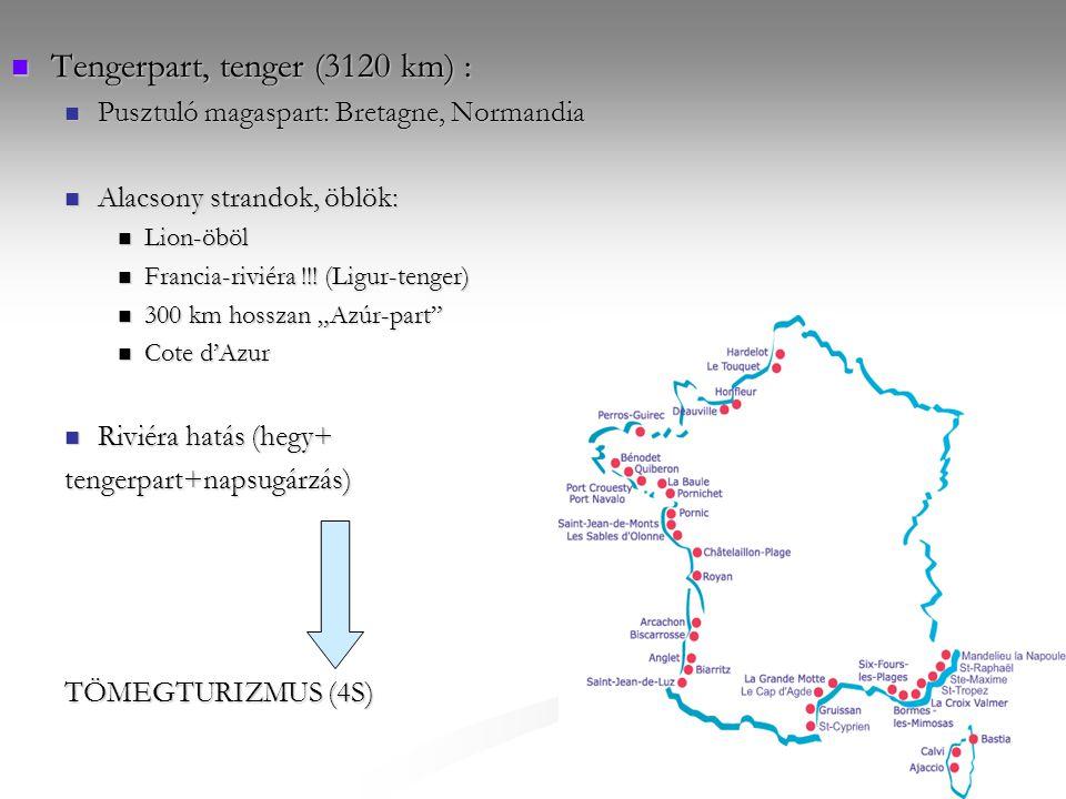 Tengerpart, tenger (3120 km) : Tengerpart, tenger (3120 km) : Pusztuló magaspart: Bretagne, Normandia Pusztuló magaspart: Bretagne, Normandia Alacsony strandok, öblök: Alacsony strandok, öblök: Lion-öböl Lion-öböl Francia-riviéra !!.
