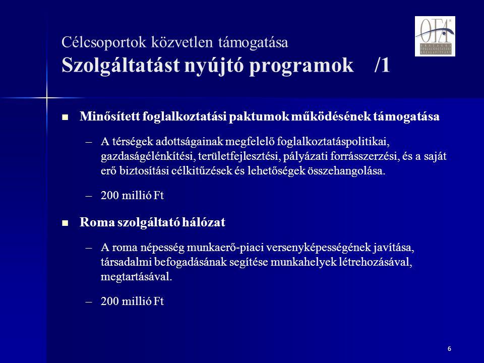17 Az előbbi pályázati programokon túl az OFA 2008-ban is Az EQUAL közösségi kezdeményezés közreműködő szervezete.