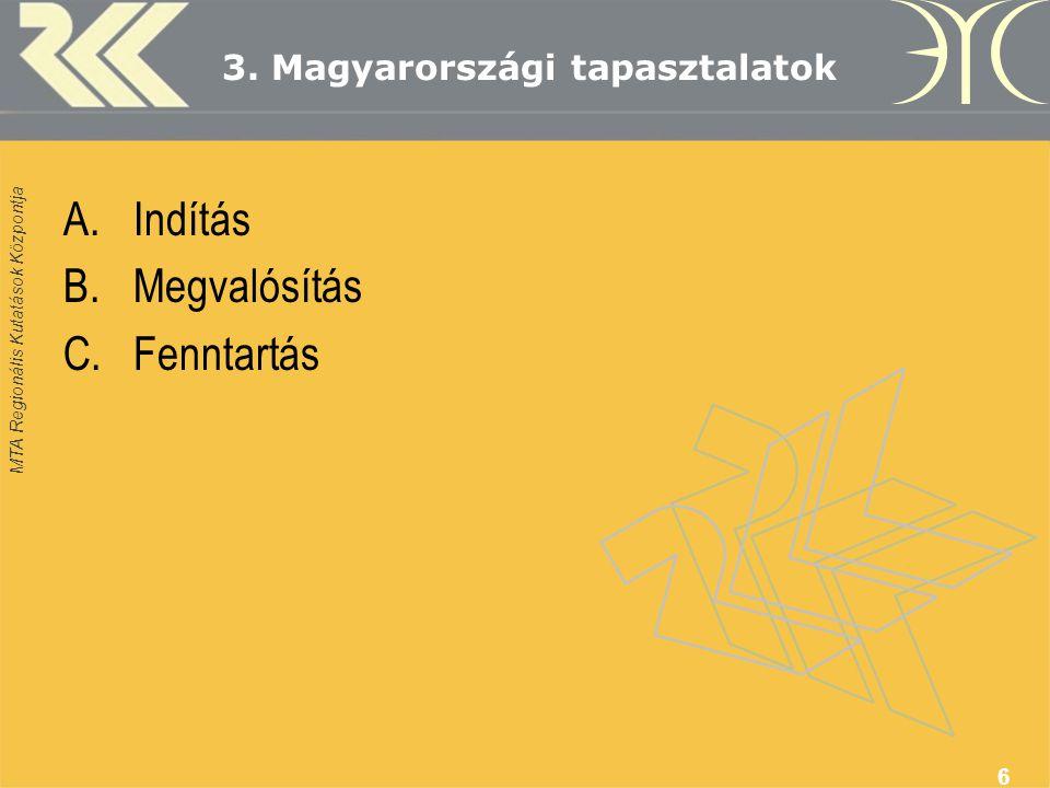 MTA Regionális Kutatások Központja 6 3. Magyarországi tapasztalatok A.Indítás B.Megvalósítás C.Fenntartás