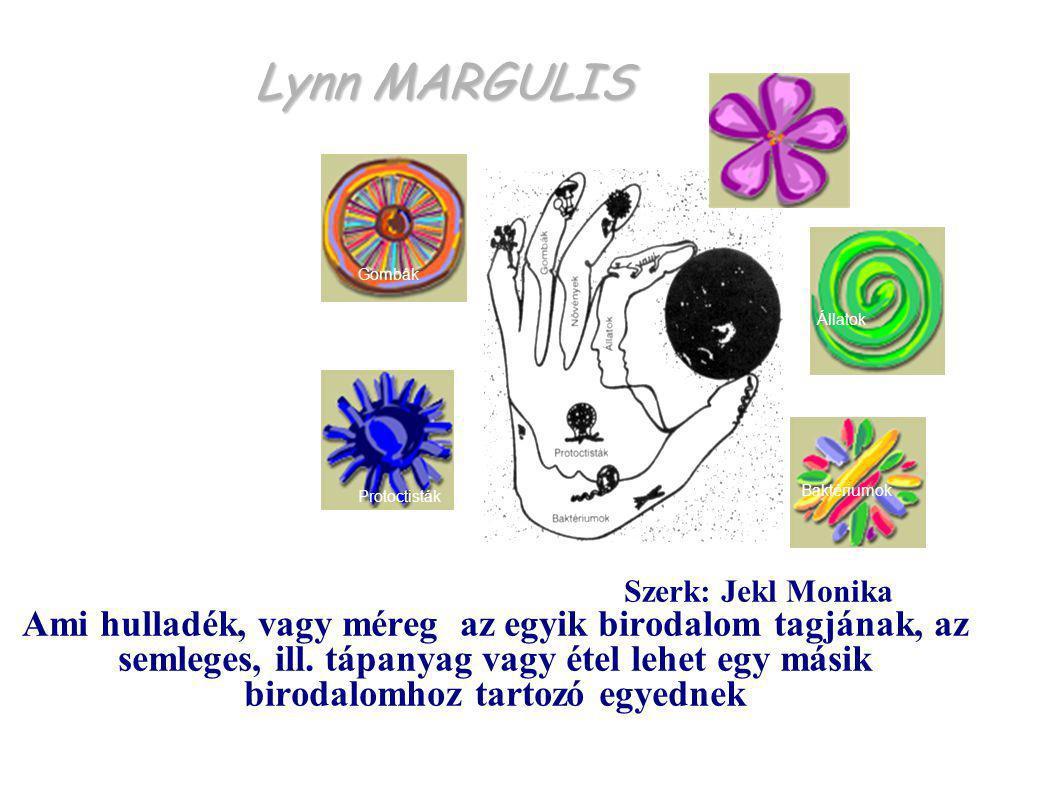 Lynn MARGULIS Protoctisták Baktériumok Állatok Gombák Növények Szerk: Jekl Monika Ami hulladék, vagy méreg az egyik birodalom tagjának, az semleges, i