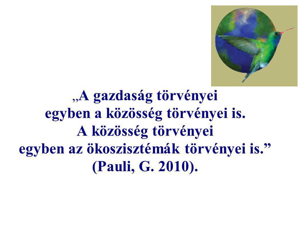 """"""" A gazdaság törvényei egyben a közösség törvényei is. A közösség törvényei egyben az ökoszisztémák törvényei is."""" (Pauli, G. 2010)."""